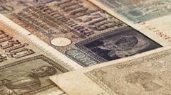 Third reich nazi banknotes 1942 WW2 in occupied Ukraine Stock Footage