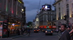 Piccadilly Circus seen in the evening in London Stock Footage