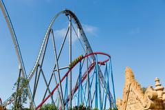 Roller Coaster in Amusement Entartainment Theme Park Kuvituskuvat