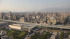 Residential apartment buildings and commercial property, Taipei skyline, Taiwan Stock Footage