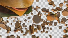Dozens of hamburgers spin in abstract space. One burger has 350 calories. Alpha - stock footage