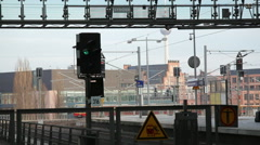 S-Bahn and trains arrive and depart, Berlin central train station, Germany Stock Footage