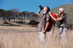 Couple on a safari - stock photo