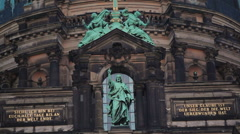 Jesus statue, German script, tourists viewpoint, Berlin Cathedral, Germany Stock Footage