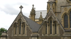Southwark Cathedral's details in London Stock Footage