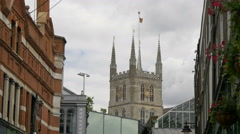Southwark Cathedral's clock tower in London Stock Footage