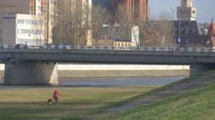 Woman is Walking With a German Sheperd Dog Cityscape Green Meadow at the River Stock Footage