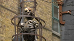 Old skeleton outside the Clink Prison Museum in London Stock Footage