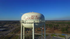 Goose Creek Water Tower Fly around Stock Footage