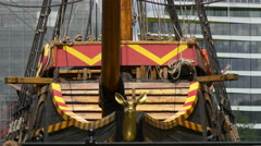 View of Golden Hinde II in London Stock Footage