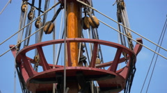View of Golden Hinde II sailing boat's mast top in London - stock footage