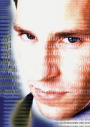 Binary code on a mans face Kuvituskuvat