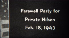 1943: Farewell party for private Nilsen before heading to World War 2 battles. - stock footage