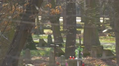 Crosses Old Tombs Through Branches Cemetery Memorial Candles Burial Place Among Stock Footage
