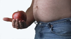 Over Weight Belly Shot of White Male Stock Footage