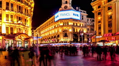 Time lapse of extremely busy pedestrian mall on Nanjing Road in Shanghai, China. Stock Footage
