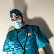 Doctor Blue Scrubs - stock photo