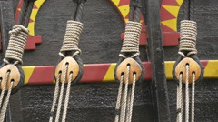 Close up view of ropes on a black object in London Stock Footage