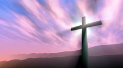 Cross in the hill, loop background Stock Footage
