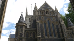 Southwark Cathedral's spires and windows in London Stock Footage