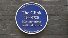 Sign with information at Clink Prison Museum, London Stock Footage