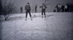 1944: Winter snow skiing day on local hill with family joining in.  TROY, NEW Arkistovideo
