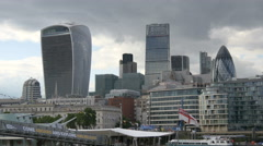 The modern skyscrapers of London Stock Footage