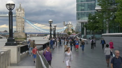 Tower Bridge seen from More London Riverside in London Stock Footage