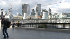 The skyscrapers of London seen from More London Riverside Stock Footage
