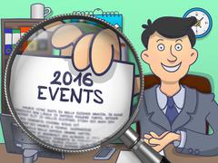 2016 Events through Magnifier. Doodle Style - stock illustration