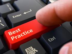 Best Practice - Concept on Red Keyboard Button Stock Photos