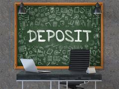 Deposit - Hand Drawn on Green Chalkboard - stock illustration