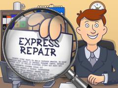 Stock Illustration of Express Repair through Magnifier. Doodle Design