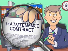 Maintenance Contract through Magnifying Glass. Doodle Concept Stock Illustration