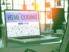 HTML Coding Concept on Laptop Screen - stock illustration