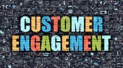 Customer Engagement Concept. Multicolor on Dark Brickwall Stock Illustration