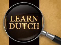 Learn Dutch through Lens on Old Paper Stock Illustration