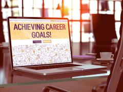 Achieving Career Goals Concept on Laptop Screen Stock Illustration