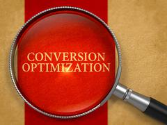 Conversion Optimization Concept through Magnifier Stock Illustration
