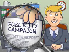 Publicity Campaign through Magnifying Glass. Doodle Design - stock illustration