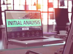 Laptop Screen with Initial Analysis Concept Stock Illustration