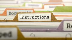 Folder in Catalog Marked as Instructions - stock illustration