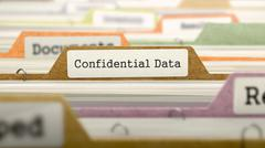 Confidential Data Concept. Folders in Catalog Stock Illustration
