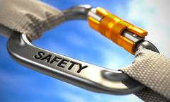 Chrome Carabiner Hook with Text Safety - stock illustration