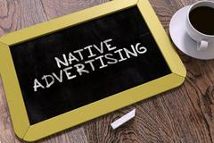 Hand Drawn Native Advertising Concept on Chalkboard - stock illustration