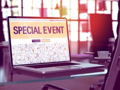 Special Event Concept on Laptop Screen - stock illustration