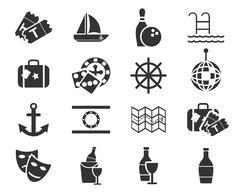 cruise icon set - stock illustration