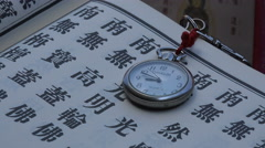 Taiwan contrast, ancient religious text book, modern watch, clock, time - stock footage