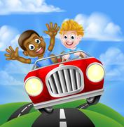 Cartoon Boys Driving Car - stock illustration