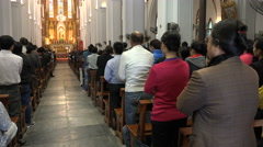 Sunday church mass in cathedral, Christian religion in Vietnam, Asia Stock Footage